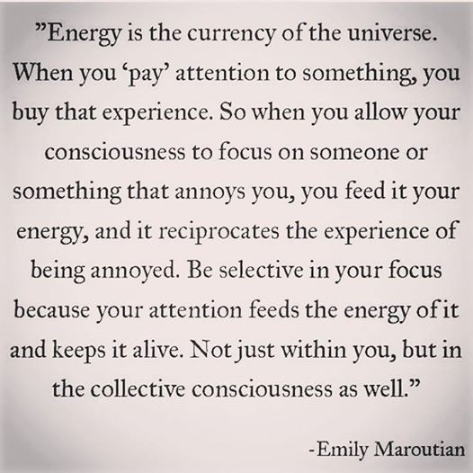 energy is the currency of the universe